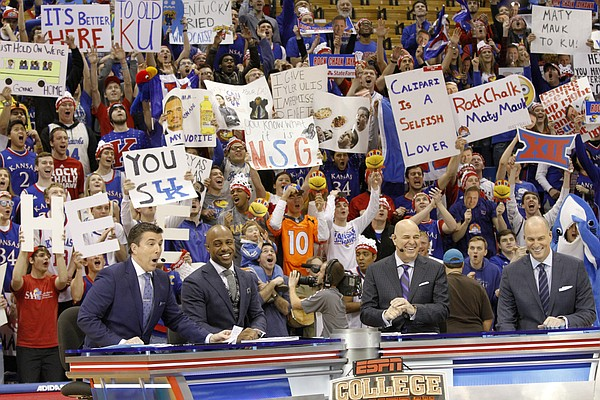 From left, ESPN College GameDay analysts Rece Davis, Jay Williams, Seth Greenberg and Jay Bilas film at Allen Fieldhouse, Saturday, Jan. 30, 2016, hours before the tip-off between KU and Kentucky men's basketball game 6 p.m.