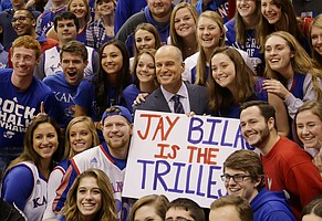 ESPN College GameDay analyst Jay Bilas is photographed with Kansas fans during the show at Allen Fieldhouse, Saturday, Jan. 30, 2016, hours before the tip-off between KU and Kentucky men's basketball game.