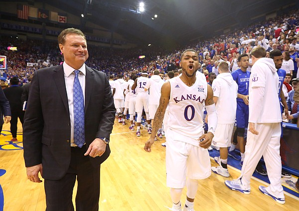 Kansas guard Frank Mason III (0) celebrates next to Kansas head coach Bill Self following the Jayhawks' 90-84 win, Saturday, Jan. 30, 2016 at Allen Fieldhouse.