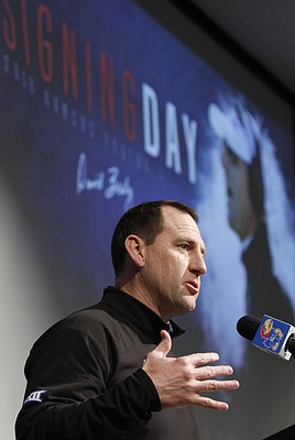 Kansas football coach David Beaty holds a news conference Wednesday, Feb. 3, to discuss the Jayhawks' 2016 class of signees.
