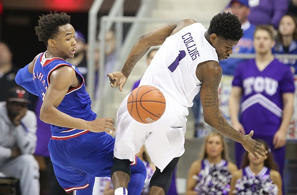Kansas guard Devonte' Graham (4) turns backward for a ball after stripping it from TCU guard Chauncey Collins (1) during the second half, Saturday, Feb. 6, 2016 at Schollmaier Arena in Forth Worth, Texas.