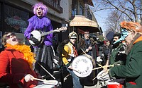 2016 Mardi Gras march through downtown Lawrence
