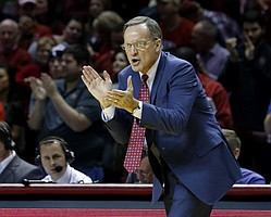 Oklahoma head coach Lon Kruger reacts to a play against TCU during the second half of an NCAA college basketball game in Norman, Okla., Tuesday, Feb. 2, 2016. Oklahoma won 95-72. (AP Photo/Alonzo Adams)