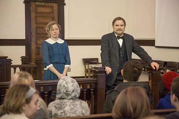 "From left, Elizabeth Sullivan along with Ric Averill, both from the Lawrence Arts Center, presented a version of ""To Kill a  Mockingbird""  to students from Lawrence High School at the Douglas County Courthouse on Wednesday, Feb. 10, 2016."