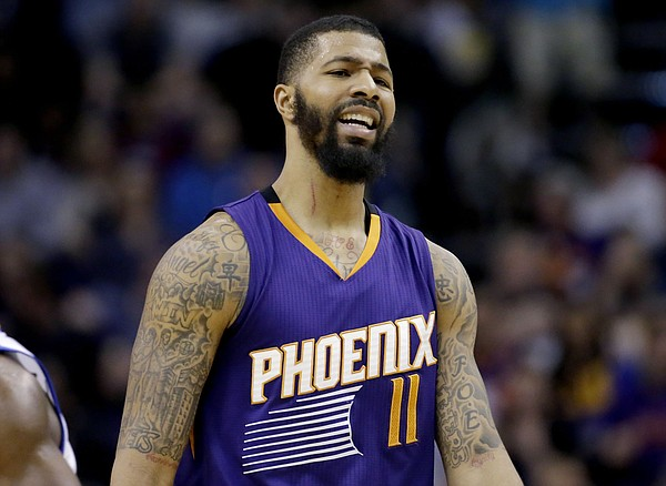 Phoenix Suns' Markieff Morris reacts to a call during the second half of the team's NBA basketball game against the Golden State Warriors, Wednesday, Feb. 10, 2016, in Phoenix. (AP Photo/Matt York)