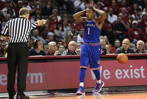 Kansas guard Wayne Selden Jr. (1) reacts to having an -out-of-bounds ball called against him during the second half, Saturday, Feb. 13, 2016 at Lloyd Noble Center in Norman, Okla.