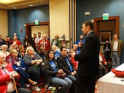 "Kansas Secretary of State Kris Kobach rallied fellow Republicans at the party&squot;s state convention, calling the American Civil Liberties Union and the League of Women Voters ""communists,"" and urging them to vote against retaining five Kansas Supreme Court justices."