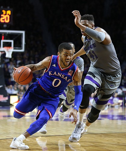 Kansas guard Frank Mason III (0) drives against Kansas State forward Stephen Hurt (41) during the second half, Saturday, Feb. 20, 2016 at Bramlage Coliseum in Manhattan, Kan.