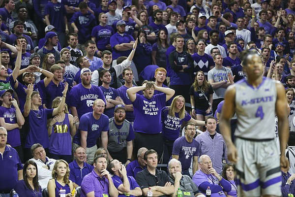 Kansas State fans watch with disbelief after the Wildcats are whistled for a foul during the first half, Saturday, Feb. 20, 2016 at Bramlage Coliseum in Manhattan, Kan.