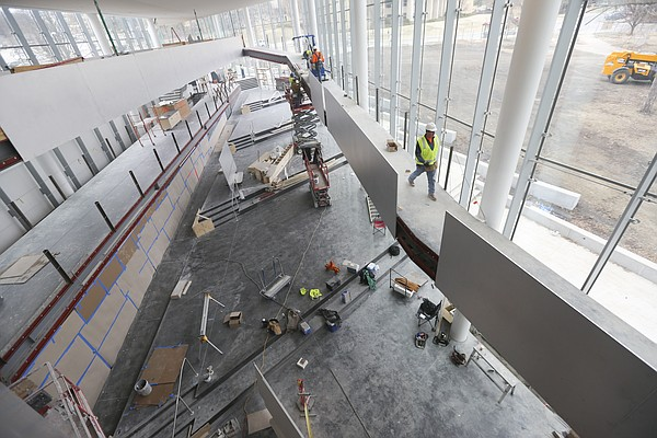 """Construction continues within the DeBruce Center and around the """"Rules Concourse,"""" which will tell the story of basketball and lead to the """"Rules Gallery,"""" where the James Naismith's original rules of """"Basket Ball"""" will be displayed. The building's interior is pictured Thursday, Feb. 25, 2016."""