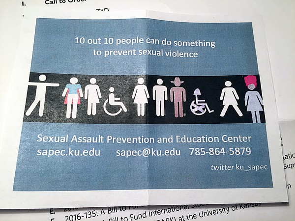 A flier for KU's new Sexual Assault Prevention and Education Center, or SAPEC.