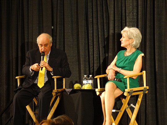 Dan Glickman, a former congressman from Wichita, and Kathleen Sebelius, a former governor and U.S. Secretary of Health and Human Services, were the keynote speakers Saturday night at the Kansas Democratic Party's state convention in Topeka.