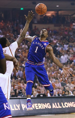 Kansas guard Wayne Selden Jr. (1) goes after a loose ball in the 1st-half of the Jayhawks win over the Longhorns Monday, Feb. 29, 2016 at the Frank Erwin Center in Austin, Texas.