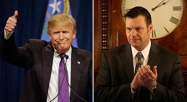Kansas Secretary of State Kris Kobach, right, says he has endorsed billionaire businessman Donald Trump for president.