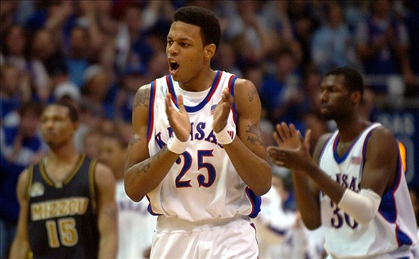 (FILE) Kansas guard Brandon Rush reacts with excitement during the first half after a forced turnover on the Tigers.