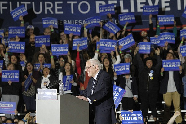 Democratic presidential candidate Bernie Sanders speaks to a crowd Thursday, March 3, 2016 at the Douglas County Fairgrounds.