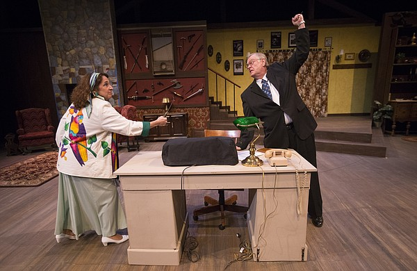 "Helga, played by Amy Kelly, and Porter, played by Randy Parker, act out a scene from ""Deathtrap"" during a dress rehearsal Wednesday, March 2, 2016 at Theatre Lawrence."