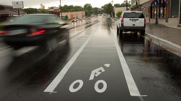 This file photo from 2009 shows a bike lane along Ninth Street just east of the intersection at Indiana Street.