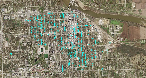 The city of Lawrence counts 455 ash trees, shown on this map as light blue dots, in the downtown area that will be impacted by the emerald ash borer infestation.