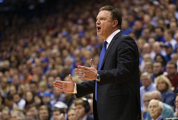 Kansas head coach Bill Self gets at his players during the second half on Saturday, March 5, 2016 at Allen Fieldhouse.