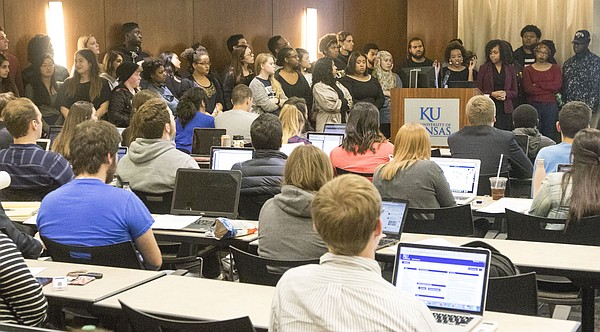 Speaking to the Kansas University Student Senate, Jameelah Jones is joined by dozens of students and supporters of the Multicultural Student Government initiative during the Student Senate's meeting Wednesday evening March 9, 2016, at the Kansas Union.