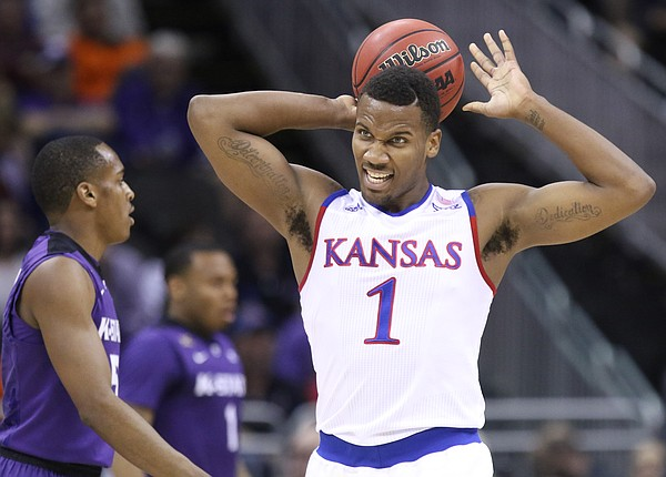 Kansas guard Wayne Selden Jr. (1) reacts after a foul was called against the Jayhawks during the first half, Thursday, March 10, 2016 at Sprint Center in Kansas City, Mo.