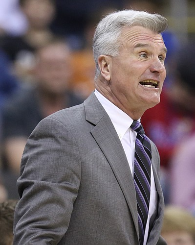 Kansas State head coach Bruce Weber reacts to a foul called against the Wildcats during the first half, Thursday, March 10, 2016 at Sprint Center in Kansas City, Mo.