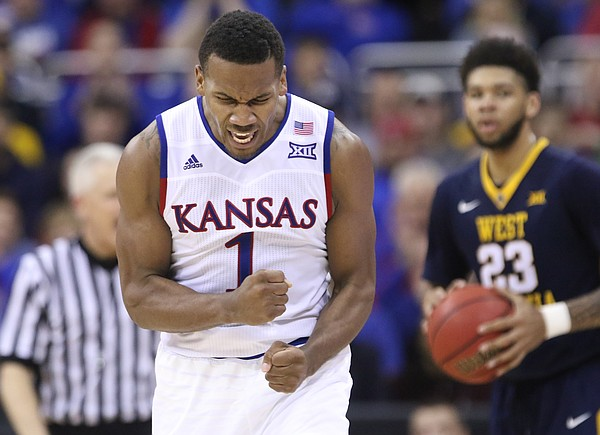 Kansas guard Wayne Selden Jr. (1) celebrates forcing a turnover during the second half, Saturday, March 12, 2016 at Sprint Center in Kansas City, Mo.