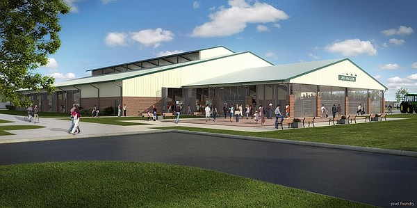 A Treanor Architects rendering of the open pavilion to be erected at the Douglas County Fairgrounds shows the livestock judging arena that will be built on its southern exposure. The clear story above the main section in one of the features meant to keep the building cool and well ventilated.