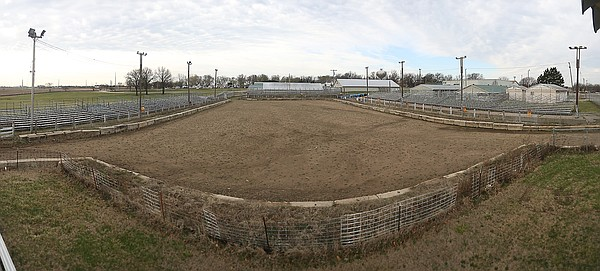 One of the improvements planned for the Douglas County Fairgrounds includes the complete refurbishing of the existing outdoor arena used for the demolition derby. This photo shows the current arena looking from north to south.