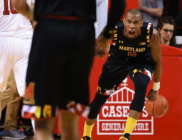 Maryland's Rasheed Sulaimon (0) reacts after a dunk during the second half of an NCAA college basketball game against Nebraska in Lincoln, Neb., Wednesday, Feb. 3, 2016. Maryland won 70-65. (AP Photo/Nati Harnik)