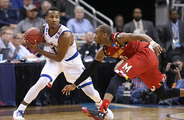 Kansas guard Wayne Selden Jr. (1) pulls the ball away form Maryland guard Rasheed Sulaimon (0) during the second half, Thursday, March 24, 2016 at KFC Yum! Center in Louisville, Kentucky.