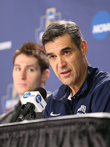 Villanova head coach Jay Wright talks with media members on Friday, March 25, 2016 at KFC Yum! Center in Louisville, Kentucky.