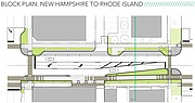 The rearrangement of a stretch of Ninth Street from New Hampshire to Rhode Island streets is shown in this rendering from an East Ninth concept design document dated March 25, 2016. This block of the street narrows from three lanes to two lanes.