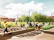 This contributed rendering imagines the final design of the East Ninth Street Project, which includes large rocks, a stormwater management system with native grasses, and integrated art installations that combine unique lighting and recorded sounds.