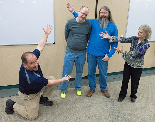 Paul Williams, second from left, Bert Nash Center IT manager, was named the recipient of the 2016 Sandra Shaw Spirit Award. Also pictured from left are members of the IT staff: Michael Godinez, Clint Bridges and Beth Ankerholz, IT director. Not pictured: Brad Boydston.