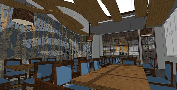 A rendering of a proposed dining area for Lawrence's Blue Moose Bar & Grill. Courtesy: KC Hopps Ltd.