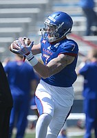 FILE — Kansas tight end Jace Sternberger pulls in a catch during warmups prior to the Spring Game on Saturday, April 9, 2016 at Memorial Stadium.