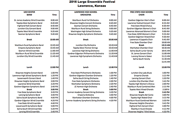 Schedule for Kansas State High School Activities Association Large Group Music Festival