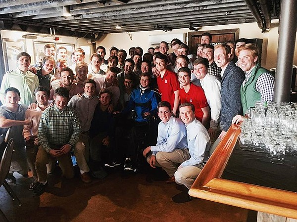 Fifty members of Kansas University's Beta Theta Pi fraternity took an overnight bus ride to Evergreen, Colo., where they initiated freshman Tom Babb in a special ceremony Feb. 20, 2016. The rest of Babb's pledge class had been initiated Feb. 7 in Lawrence, but Babb could not be there. While on a family vacation in Hawaii over winter break, Babb was paralyzed in an accident and hospitalized more than three months following. Babb hopes to return to KU for the fall 2016 semester.