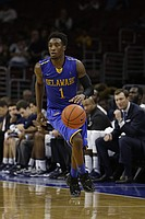 Delaware's Kory Holden in action during an NCAA college basketball game against Villanova, Sunday, Nov. 30, 2014, in Philadelphia. (AP Photo/Matt Slocum)