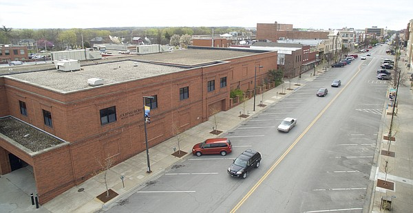 The former Lawrence Journal-World press facility, located at the northeast end of Massachusetts Street.
