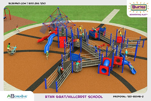 Renderings for the new playground at Hillcrest Elementary School, 1045 Hilltop Dr.
