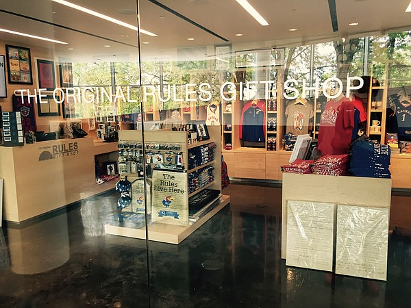 The Original Rules Gift Shop inside KU's DeBruce Center features KU memorabilia, particularly original rules memorabilia.