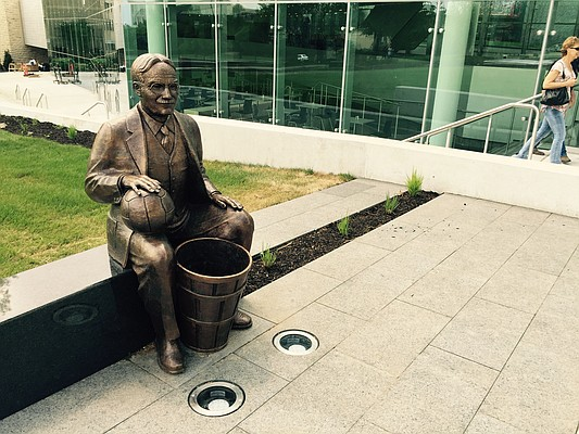 Outside KU's DeBruce Center is this bronze sculpture of James Naismith designed by the late KU professor Elden Tefft and completed after his death by his son, Kim Tefft.