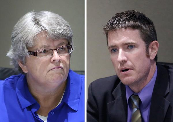 Lawrence City Commissioners Lisa Larsen, left, and Matthew Herbert.