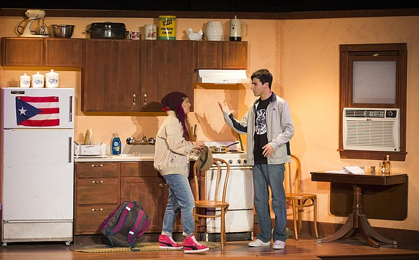 "Alejandro Arroyo, right, played by Juan Gonzalez, and Amalia (Molly) Arroyo, played by Alejandra Villasante, argue in the kitchen of their Lower East Side apartment during a dress rehearsal for ""Welcome to Arroyo's,"" Wednesday, April 27, 2016 in the William Inge Memorial Theater at Murphy Hall."
