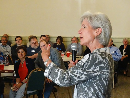 Former Gov. and HHS Secretary Kathleen Sebelius fires up a Kansas Democratic Party fundraiser in Topeka Saturday, April 30.