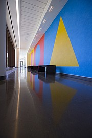 Wall Drawing 519 by artist Sol LeWitt extends along a hallway on the first floor of Captiol Federal Hall.