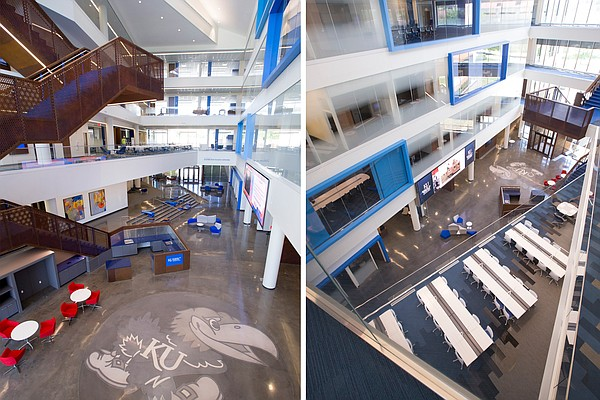 The atrium at Capitol Federal Hall viewed from the second, left, and fourth floors on Tuesday, May 10, 2016.